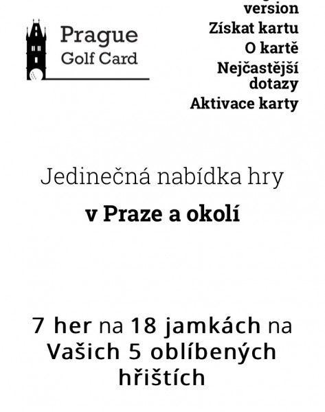 Prague Golf Card - 7 her Po-Ne